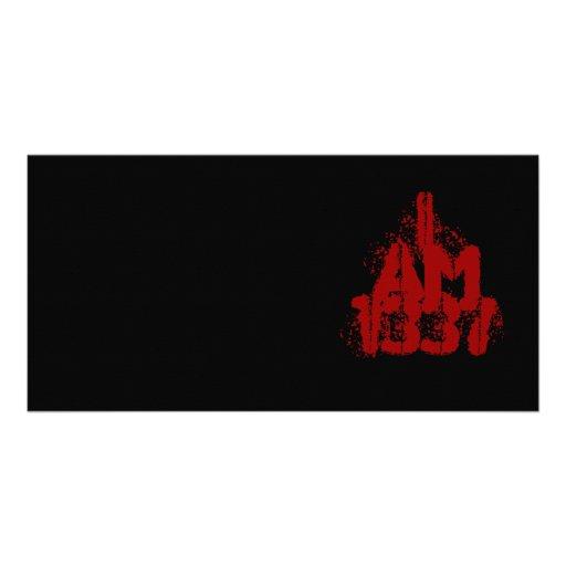 I Am 1337. Deep Red Text. Leet Gamer. Custom Photo Card