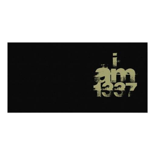 I Am 1337. Leet Gamer. Khaki Green Text. Custom Picture Card