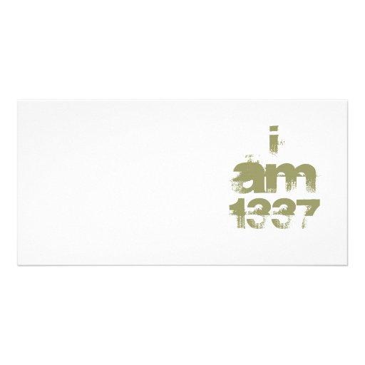 I Am 1337. Leet Gamer. Khaki Green Text. Custom Personalized Photo Card