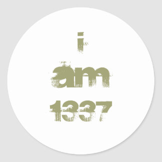 I Am 1337. Leet Gamer. Khaki Green Text. Custom Round Sticker