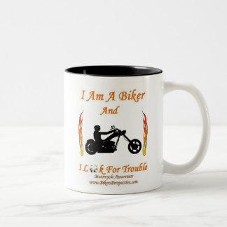 I Am A Biker And I Look For Trouble Two-Tone Coffee Mug