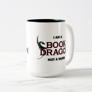 I am a Book Dragon, not a Worm Two-Tone Coffee Mug