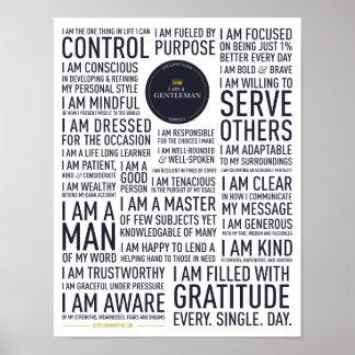 I Am A Gentleman Manifesto Poster (White)
