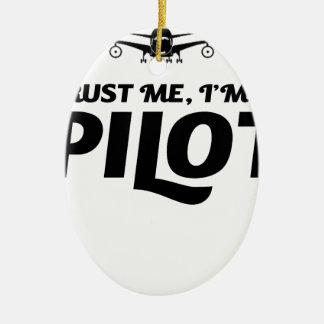 I am a Pilot Ceramic Oval Ornament