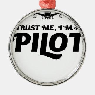 I am a Pilot Silver-Colored Round Ornament