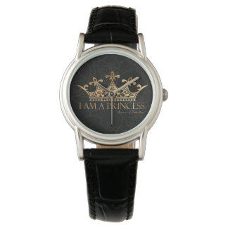 I Am A Princess w/Crown  Women's Classic Leather Wrist Watches