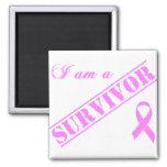 I am a Survivor - Breast Cancer Pink Ribbon Square Magnet