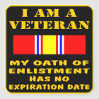 I Am A Veteran My Oath Of Enlistment Has No Expire Square Sticker
