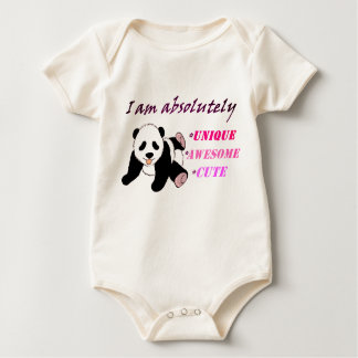 I am absolutely Unique Panda babysuit Baby Bodysuit