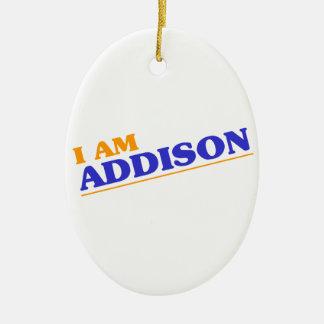 I am Addison Ceramic Oval Ornament