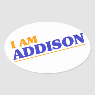 I am Addison Oval Sticker