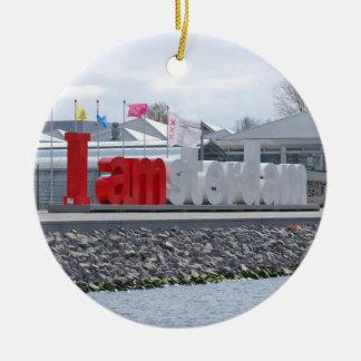 I am Amsterdam Sign, Netherlands Round Ceramic Ornament