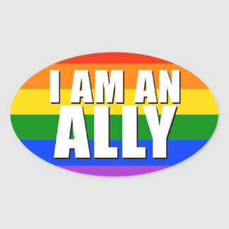 I Am An Ally Oval Sticker