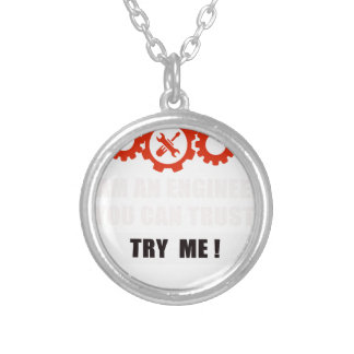 I am an engineer you can trust silver plated necklace