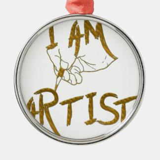 I am artist Silver-Colored round ornament