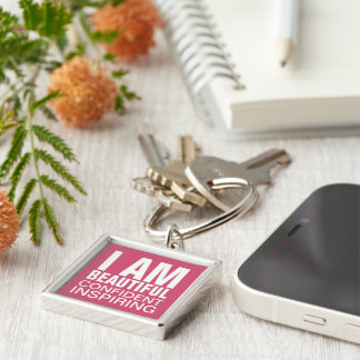 I am Beautiful Confident Inspiring Silver-Colored Square Keychain