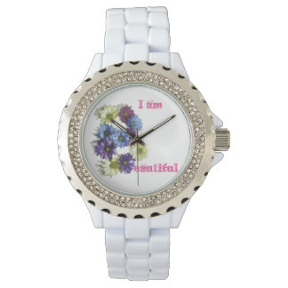 I am Beautiful flower affirmation Watch