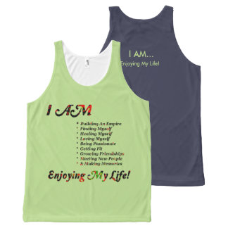 I AM...Custom All-Over Printed Unisex Tank, L All-Over-Print Tank Top