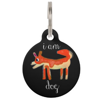"""I Am Dog"" Funny dog tag/collar for all size dogs Pet Tag"