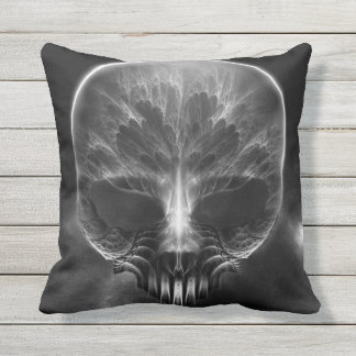 I Am Doom Fractal Skull Throw Pillow