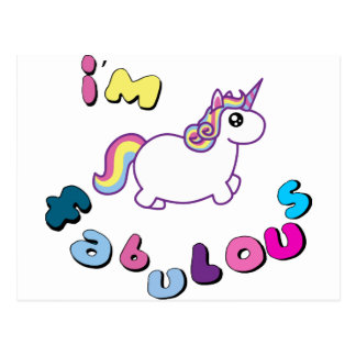 i am fabulous unicorn postcard