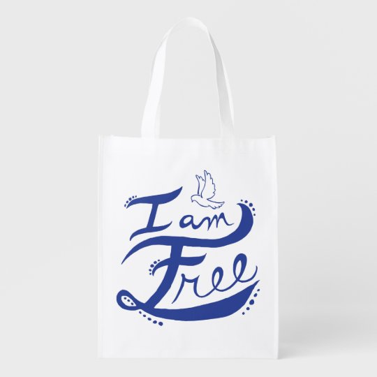 """I Am Free"" Reusable Bag Grocery Bags"
