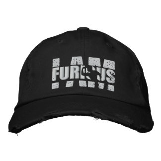 I AM FURIOUS White Logo Distressed Cap