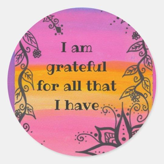 I am grateful rainbow quote stickers