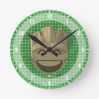 """I Am Groot"" Text Emoji Round Clock"