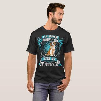 I Am Happiest When With My St Bernard Dog Tshirt