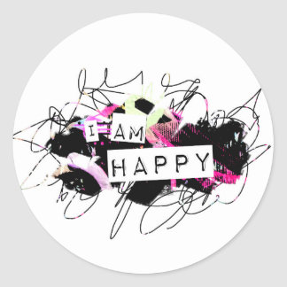 i am happy  Feel Good.Be Happy.Tell the World. Classic Round Sticker
