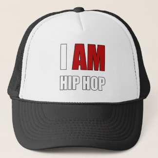 """""""I AM HIP HOP"""" RED LETTER TRUCKER HAT"""