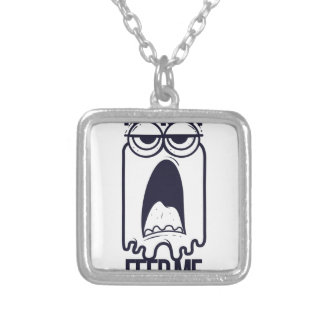 i am hungry feed me human silver plated necklace