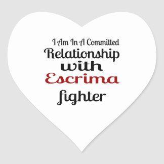 I Am In A Committed Relationship With Escrima Figh Heart Sticker