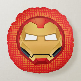 """I Am Iron Man"" Emoji Round Pillow"