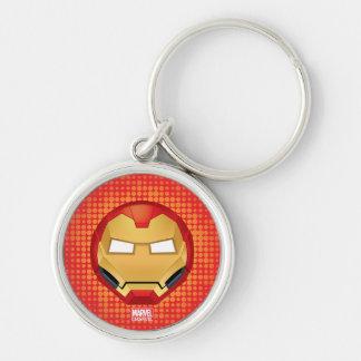 """I Am Iron Man"" Emoji Silver-Colored Round Keychain"