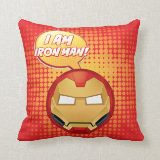 """I Am Iron Man"" Emoji Throw Pillow"
