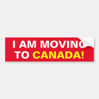 I AM MOVING TO CANADA BUMPER STICKER