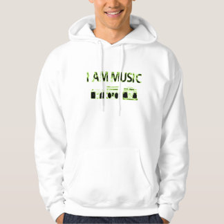I-am-music-lime-green-black Hoodie