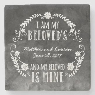I Am My Beloved's, Wedding Black Watercolor Stone Coaster