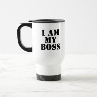 I am My Boss. Slogan. 15 Oz Stainless Steel Travel Mug