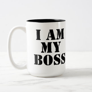 I am My Boss. Slogan. Two-Tone Coffee Mug