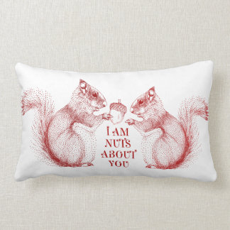 I am nuts about you, squirrels in love lumbar pillow