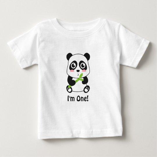 I am One, First Birthday, Cute Baby Panda Baby T-Shirt