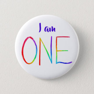 I am ONE Inspirational Rainbow Word Button Pins