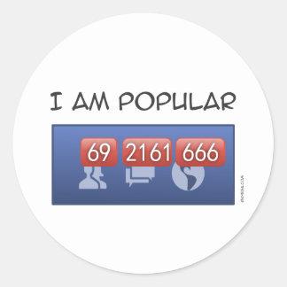 i am popular round stickers