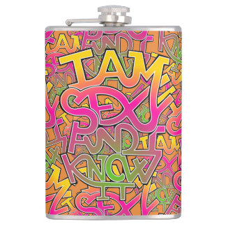I am sexy and I know it - graffiti Hip Flask