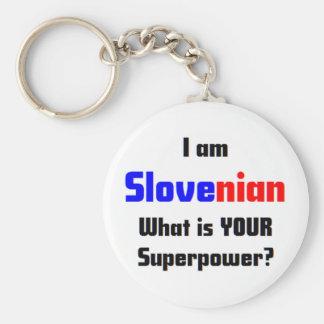 I am Slovenian Basic Round Button Keychain