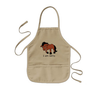 I am Sorry Crying Weeping Foal Young Horse Plates Kids Apron