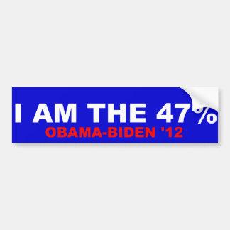 I Am The 47% Obama-Biden 2012 Bumper Sticker